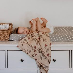 Muted Meadow Floral Muslin Swaddle by Rorro